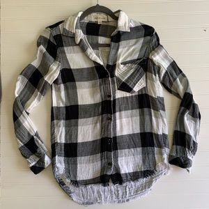 Cloth and Stone Plaid Button Down Blouse Top XXS